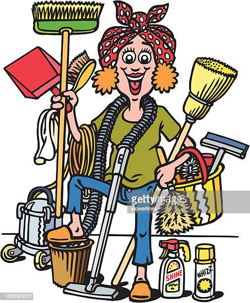 cleaning lady - dustpan stock illustrations, clip art, cartoons, & icons