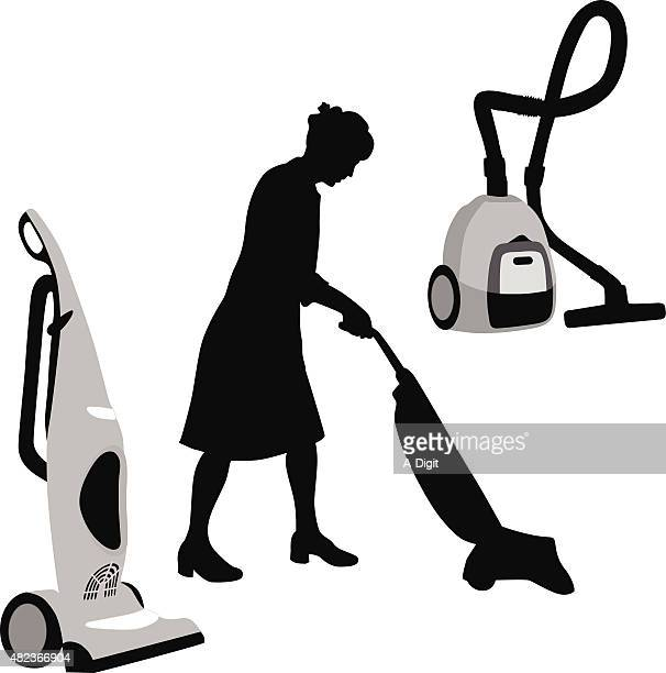 cleaning lady - vacuum cleaner stock illustrations, clip art, cartoons, & icons