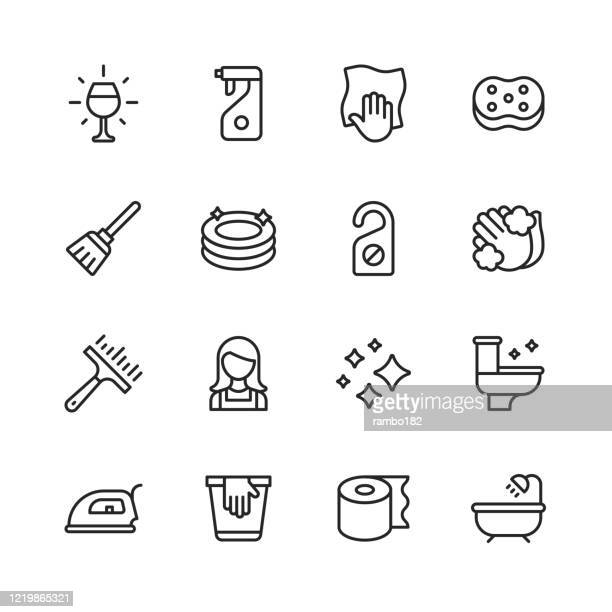 cleaning line icons. editable stroke. pixel perfect. for mobile and web. contains such icons as glass, dishwasher, dishes, detergent, wiping cloth, washing sponge, mop, plates, hand washing, toilet, kitchen, bathroom, iron, toilet paper, bath, tub. - housework stock illustrations
