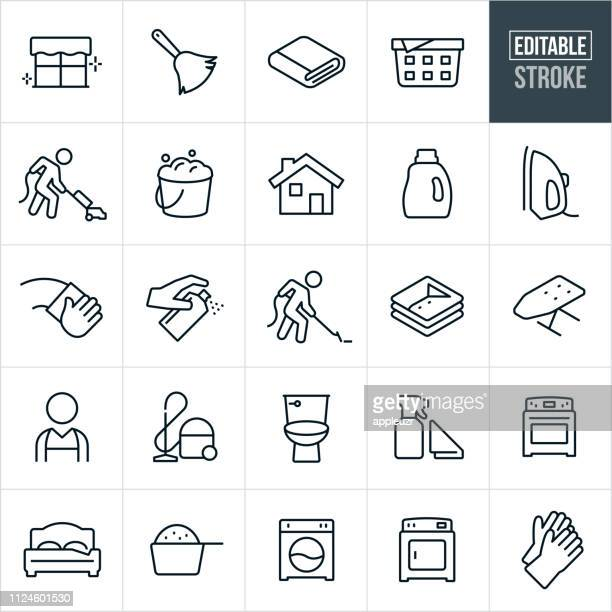 cleaning line icons - editable stroke - clean stock illustrations