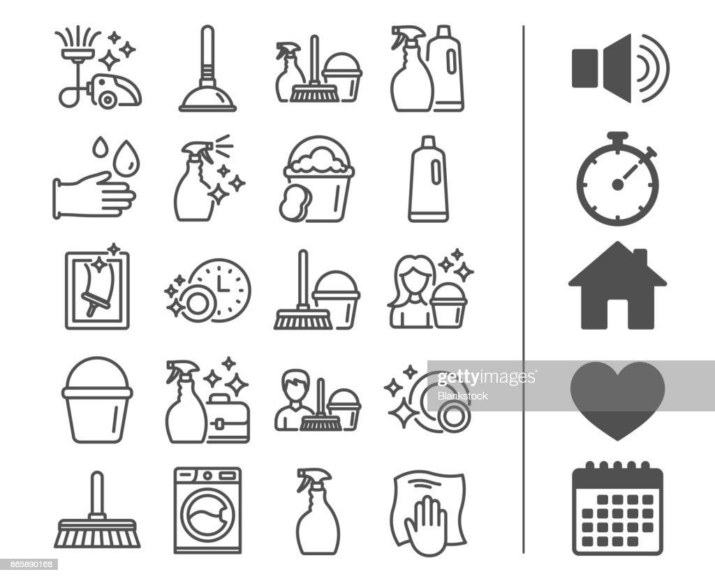 Cleaning line icons. Laundry, Sponge and Vacuum.
