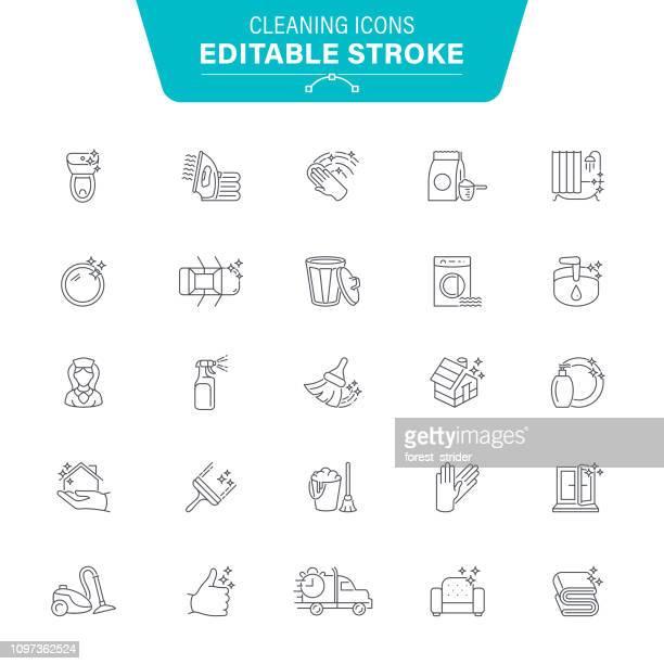 reinigung linie symbole - glänzend stock-grafiken, -clipart, -cartoons und -symbole