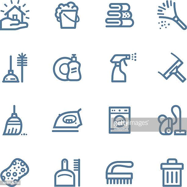 cleaning line icons - dustpan stock illustrations, clip art, cartoons, & icons