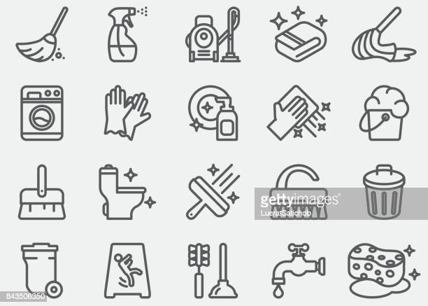 cleaning line icons - toilet brush stock illustrations, clip art, cartoons, & icons