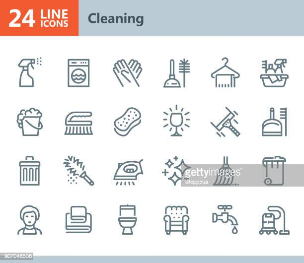 cleaning - line vector icons - shiny stock illustrations