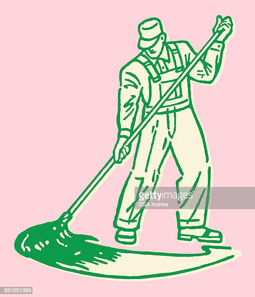Hombre Mopping limpieza