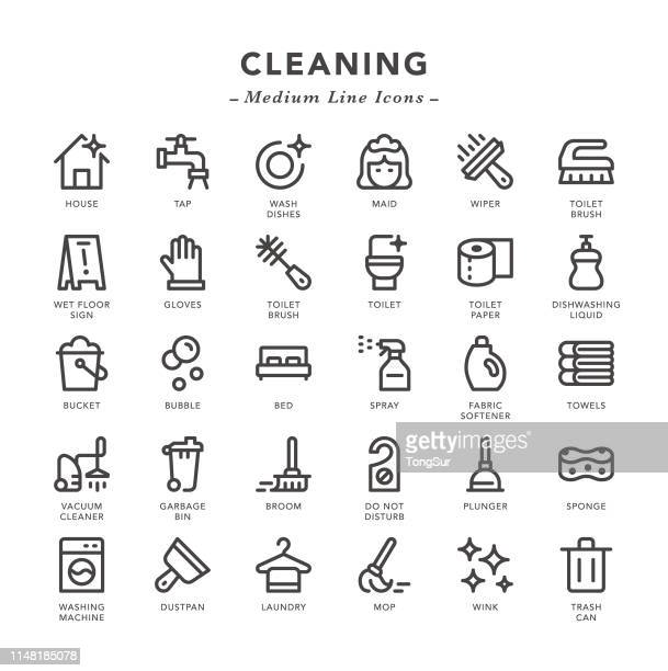 cleaning - medium line icons - toilet brush stock illustrations, clip art, cartoons, & icons