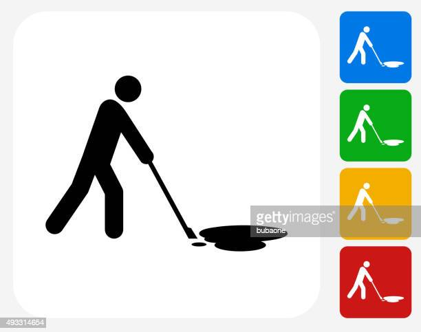 cleaning oil spill icon flat graphic design - spill stock illustrations, clip art, cartoons, & icons