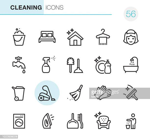 cleaning - pixel perfect icons - toilet brush stock illustrations, clip art, cartoons, & icons