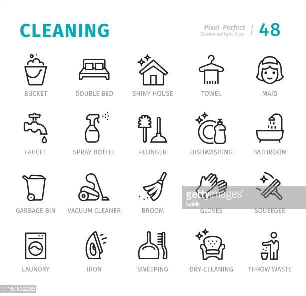 cleaning - pixel perfect line icons with captions - washing up glove stock illustrations, clip art, cartoons, & icons