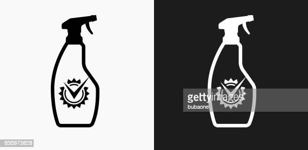 黒と白のベクトルの背景のクリーニング製品アイコン