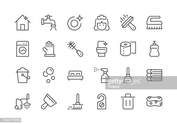 cleaning - regular line icons - broom stock illustrations, clip art, cartoons, & icons