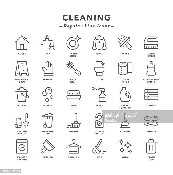cleaning - regular line icons - clean stock illustrations
