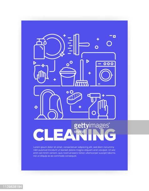 ilustraciones, imágenes clip art, dibujos animados e iconos de stock de diseño de cubierta del estilo de línea de concepto relacionado para anual informe, folleto, folleto de limpieza. - ducha