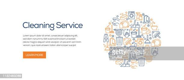 cleaning service banner template with line icons. modern vector illustration for advertisement, header, website. - housework stock illustrations