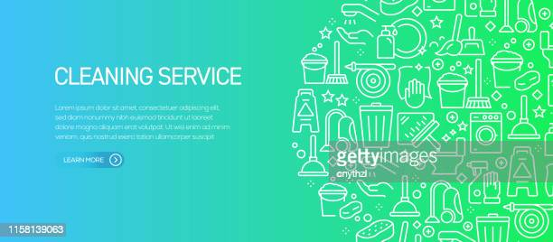 cleaning service banner template with line icons. modern vector illustration for advertisement, header, website. - housework stock illustrations, clip art, cartoons, & icons