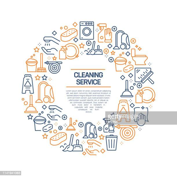 cleaning service concept - colorful line icons, arranged in circle - purity stock illustrations