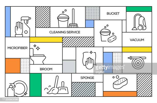 cleaning service concept. geometric retro style banner and poster concept with cleaning service line icons - housework stock illustrations, clip art, cartoons, & icons