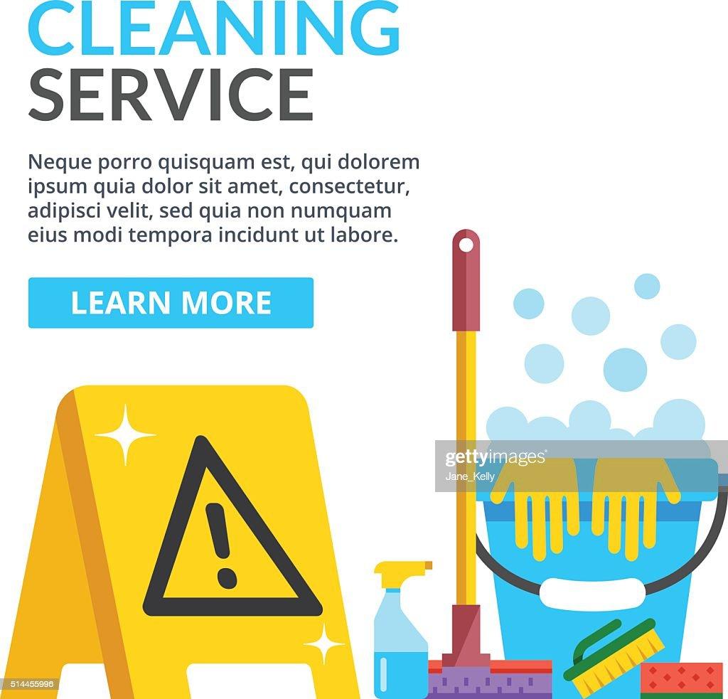 Cleaning service flat illustration. Flat vector illustration