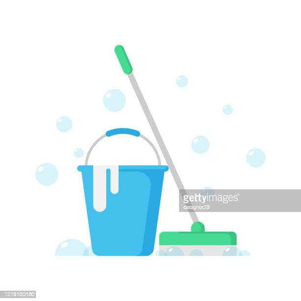 cleaning service icon. cleaning concept, cleaning equipment and tools flat design. - housework stock illustrations