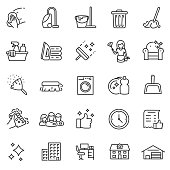 Cleaning service, icon set. Editable stroke