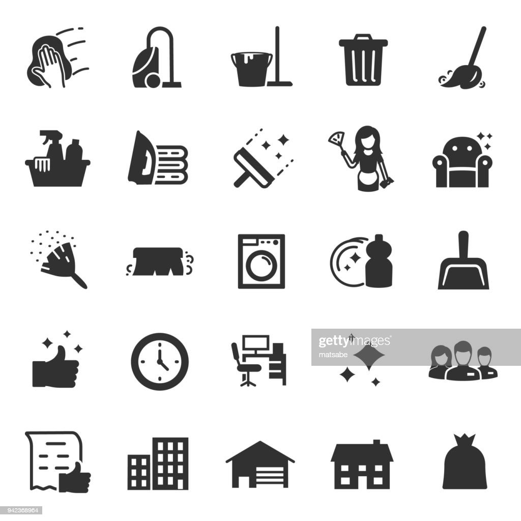 Cleaning service icons set. services for cleaning and laundry