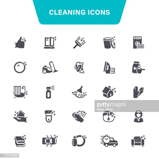 cleaning service icons - housework stock illustrations