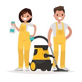 Cleaning service. Man and woman dressed in uniform on isolated