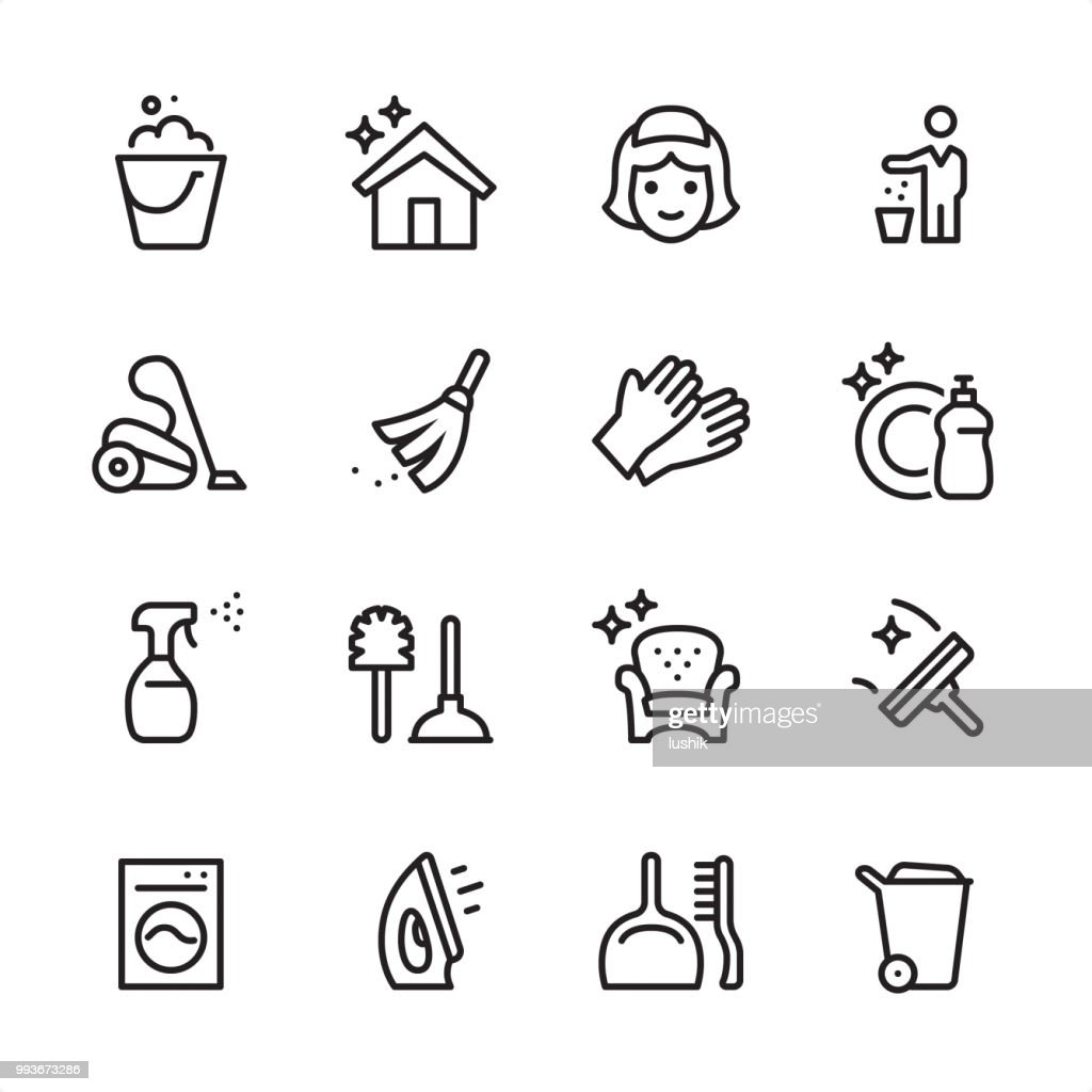 Cleaning Service - outline icon set : stock illustration