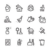 Cleaning Service - outline icon set