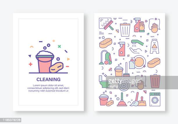 cleaning service related concept line style cover design for annual report, flyer, brochure. - cleaning stock illustrations