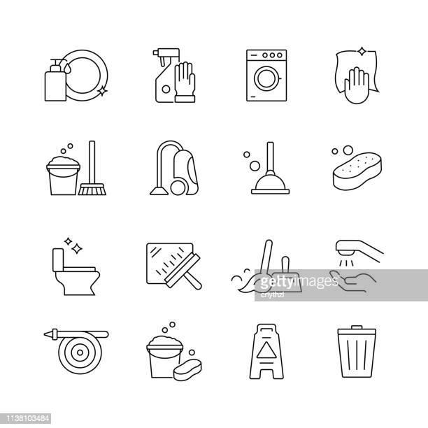 Servicio de limpieza relacionado-conjunto de iconos vectoriales de línea delgada