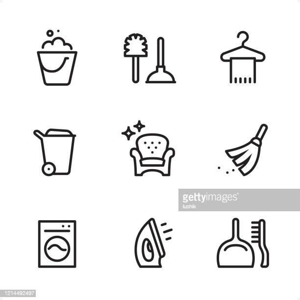 クリーニングサービス - シングルラインアイコン - 掃く点のイラスト素材/クリップアート素材/マンガ素材/アイコン素材