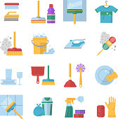 Cleaning service symbols. Different colored tools in cartoon style. Brush and soap