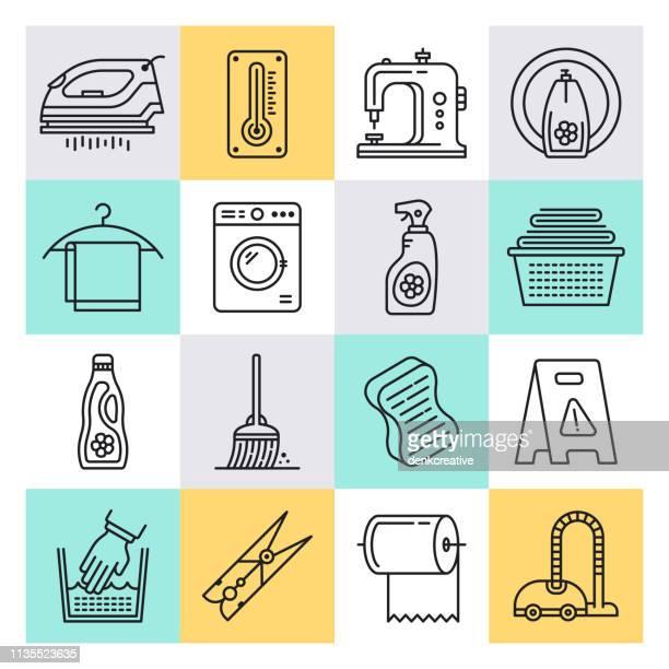 クリーニングサービス業界概要スタイルベクトルアイコンセット - 清掃用具点のイラスト素材/クリップアート素材/マンガ素材/アイコン素材