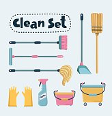 Cleaning services set of illustrations. Janitorial professionals. Pressure washer, floor buffer, window cleaner, and carpet extractor.