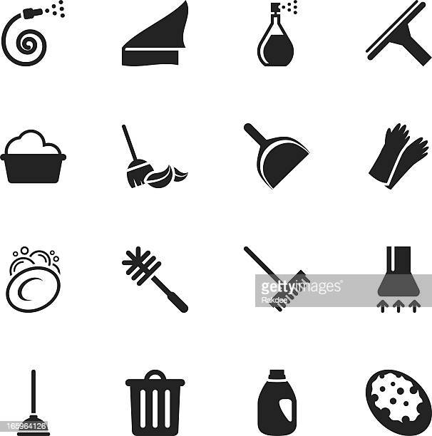 cleaning silhouette icons - dustpan stock illustrations, clip art, cartoons, & icons