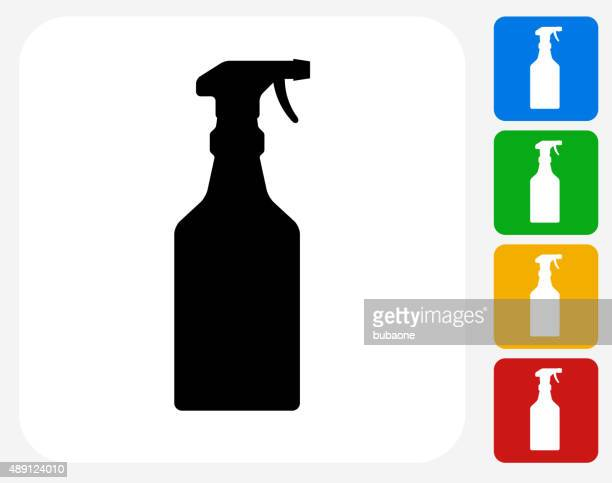 cleaning spray icon flat graphic design - trigger stock illustrations