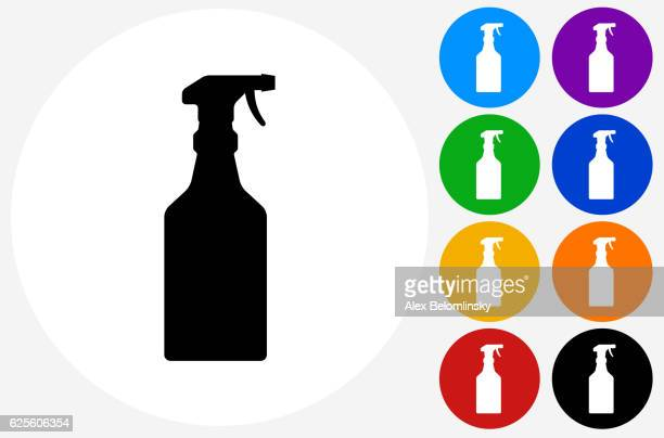 cleaning spray icon on flat color circle buttons - spray bottle stock illustrations