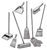 Cleaning Supplies, Broom, Mop, Dustpan