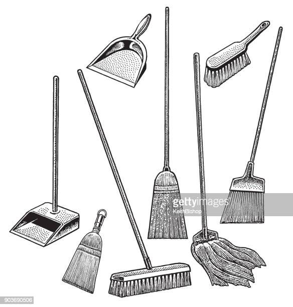 cleaning supplies, broom, mop, dustpan - dustpan stock illustrations, clip art, cartoons, & icons
