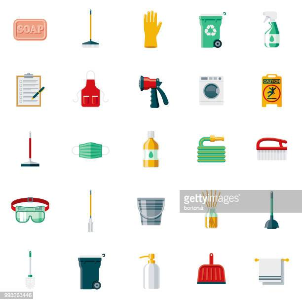 cleaning supplies flat design icon set - broom stock illustrations, clip art, cartoons, & icons