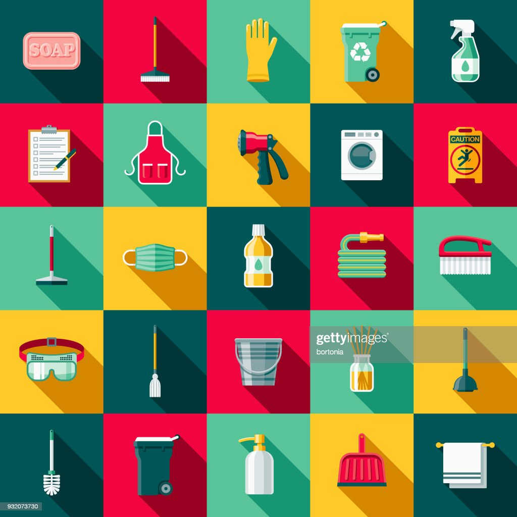 Cleaning Supplies Flat Design Icon Set with Side Shadow : stock illustration