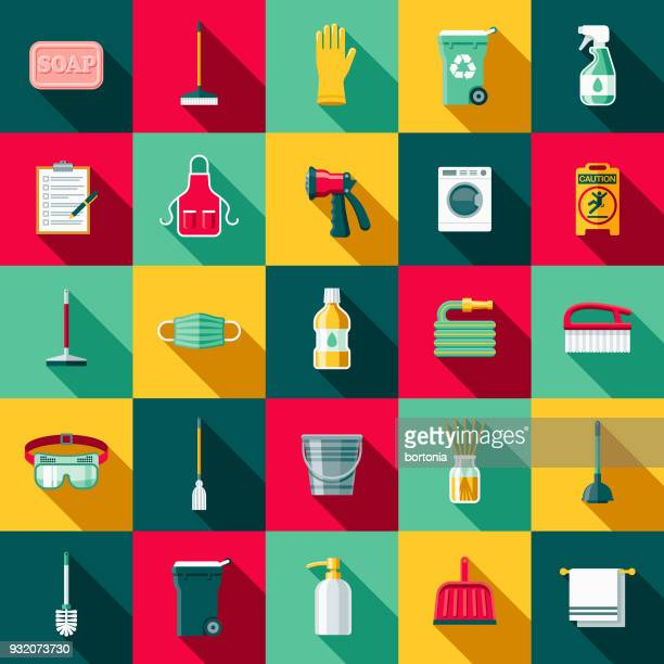 Cleaning Supplies Flat Design Icon Set with Side Shadow