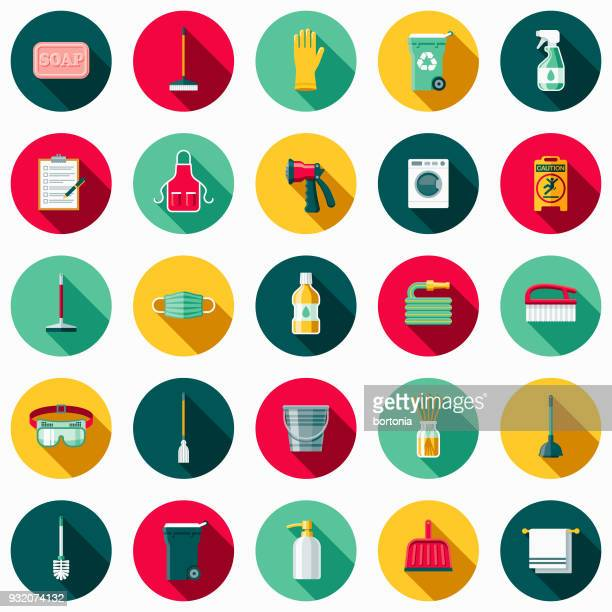 cleaning supplies flat design icon set with side shadow - washing up glove stock illustrations, clip art, cartoons, & icons