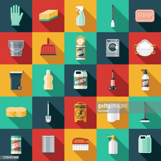 cleaning supplies icon set - hand sanitizer stock illustrations