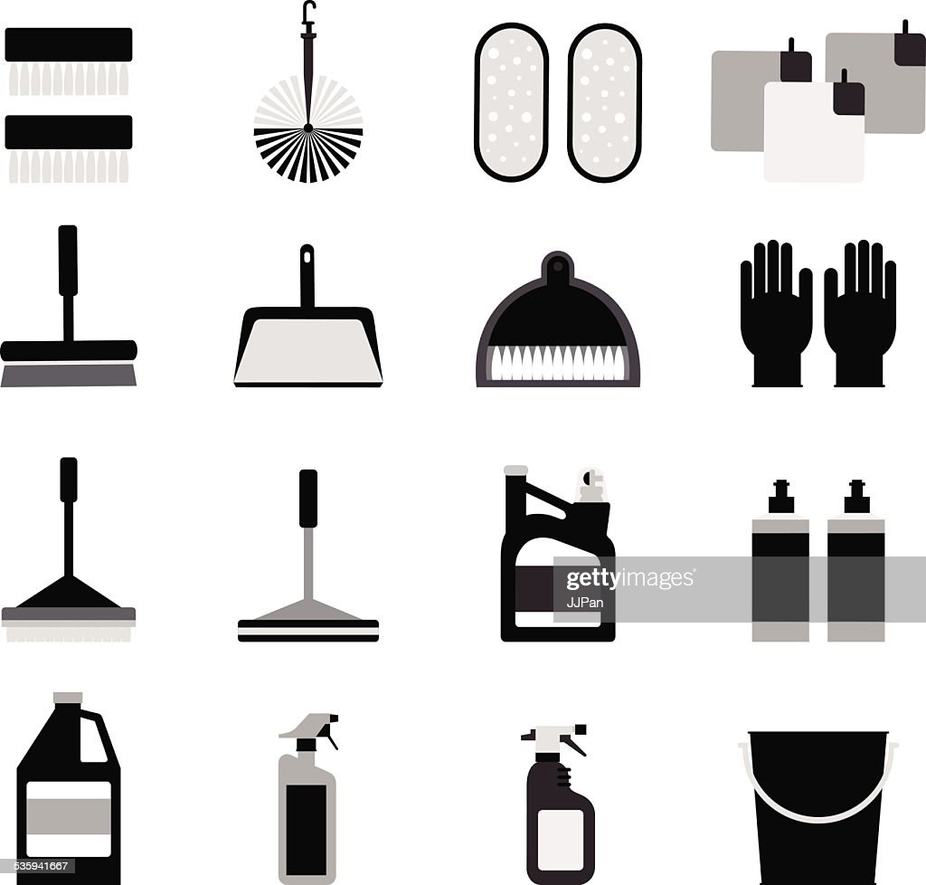 Cleaning supplies icons