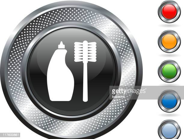 cleaning supplies royalty free vector art on metallic button - toilet brush stock illustrations, clip art, cartoons, & icons