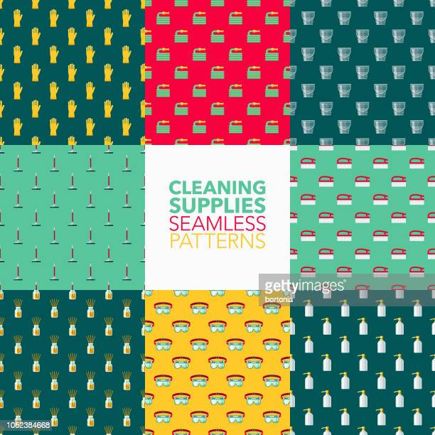 cleaning supplies seamless pattern set - toilet brush stock illustrations, clip art, cartoons, & icons