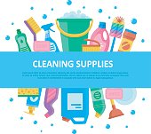 Cleaning supplies set with central lettering